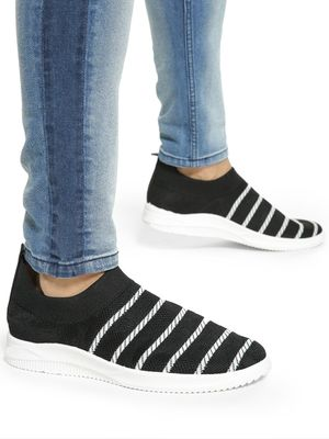 KOOVS Stripe Knitted Sockliner Shoes