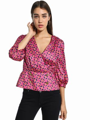 KOOVS Chain Print Satin Wrap Top