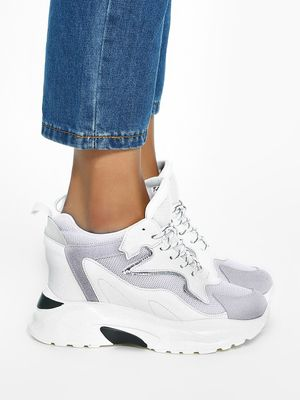 KOOVS Mesh Suede Panel Wedge Trainers