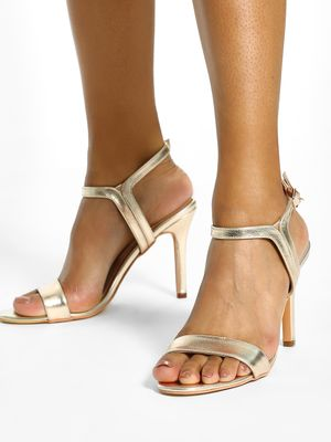 KOOVS Metallic Single Strap Heeled Sandals