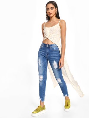 Iris Mid Wash Distressed Skinny Jeans