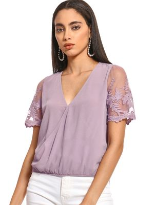 Iris Lace Embroidered Sleeve Wrap Top
