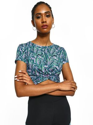 K ACTIVE KOOVS Abstract Print Twist Knot Crop Top