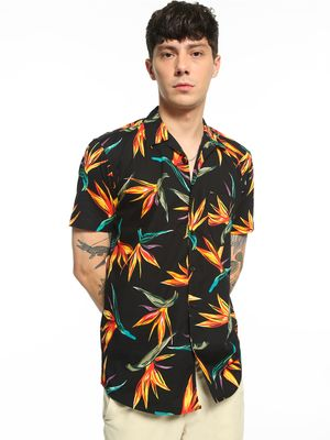 AMON Tropical Leaf Print Cuban Collar Shirt