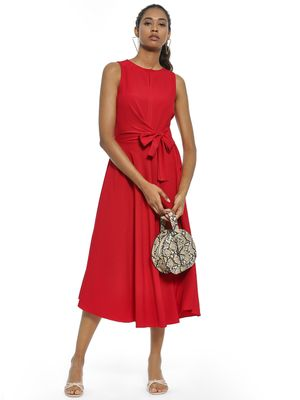 AND Waist Tie Sleeveless Midi Dress