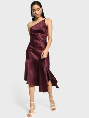KOOVS One-Shoulder Satin Asymmetric Dress
