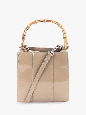 Origami Lily Faux Bamboo Handle Patent Handbag