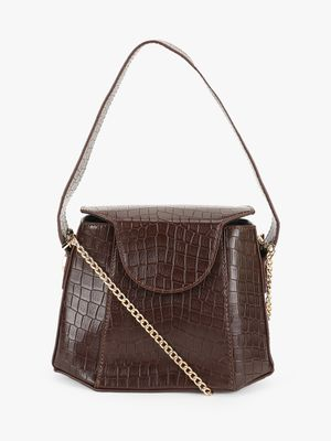 Origami Lily Crocskin Structured Handbag
