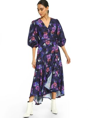 KOOVS Rose Print Wrap Maxi Dress