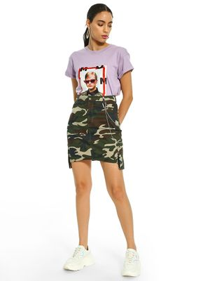KOOVS Camouflage Asymmetric Pocket Mini Skirt