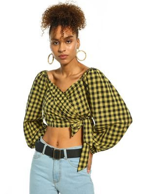 KOOVS Checked Wrap Crop Top