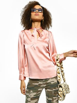Cover Story Pussy Bow Neck Satin Blouse