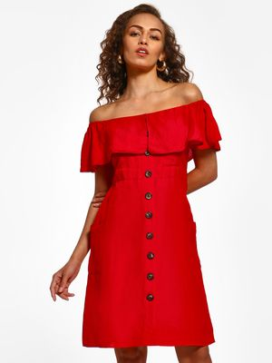 Cover Story Button Front Off-Shoulder Dress