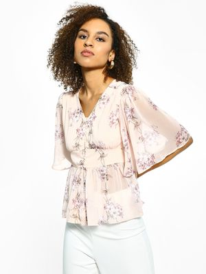 Cover Story Sheer Floral Print Flared Top