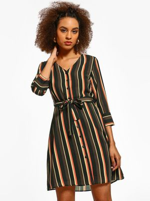 Cover Story Vertical Stripe Tie-Knot Shift Dress