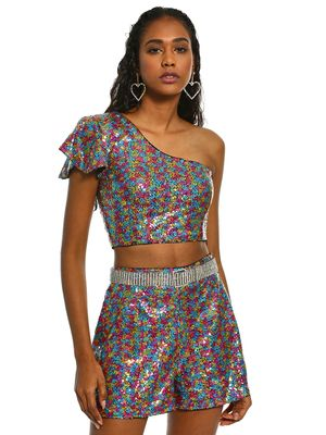 KOOVS One Shoulder Sequin Crop Top
