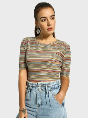 KOOVS Horizontal Stripe Ribbed Crop Top
