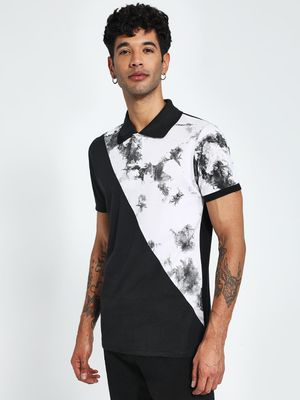 Blotch Cloud Print Panel Polo Shirt