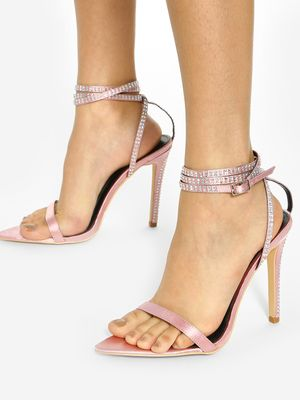 KOOVS Diamante Embellished Strap Heeled Sandals