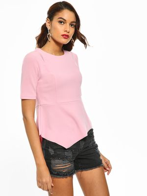 Cover Story Panelled Asymmetric Hem Top