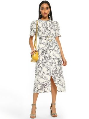 Cover Story Ink Floral Print Midi Dress