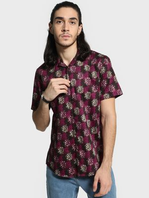 Mr Button Digital Leaf Print Cuban Collar Shirt