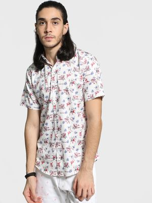 Mr Button Foliage Floral Print Shirt