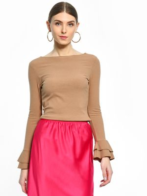 Cover Story Bell Sleeve Ribbed Top