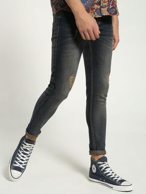 K Denim KOOVS Mid Wash Distressed Skinny Jeans