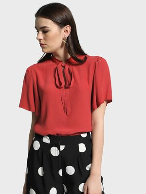 Cover Story Pussy Bow Ruffled Neck Blouse