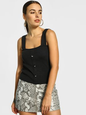 Cover Story Front Button Ribbed Cami Top