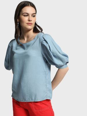 Cover Story Round Neck Balloon Sleeve Blouse