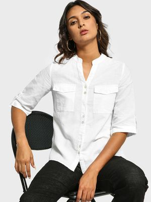 Cover Story Band Collar Long Sleeve Shirt