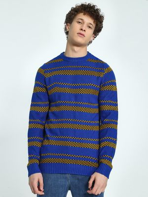 KOOVS Checkerboard Stripe Jacquard Sweater
