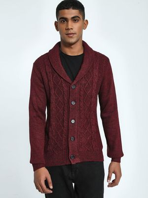 KOOVS Cable Knit Shawl Collar Cardigan