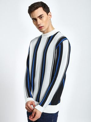 KOOVS Vertical Stripe Boxy Fit Sweatshirt