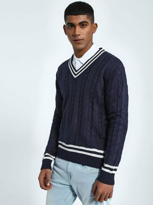 KOOVS Cable Knit Varsity Sweater