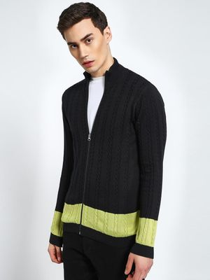 KOOVS Cable Knit Contrast Hem Zip-Through Cardigan