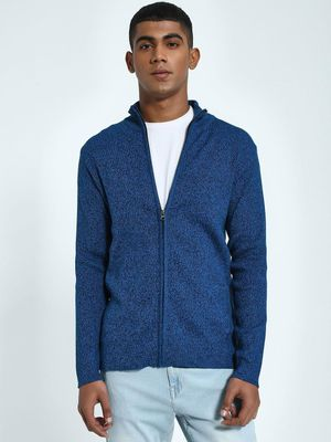 KOOVS Two-Tone Knit Funnel Neck Cardigan