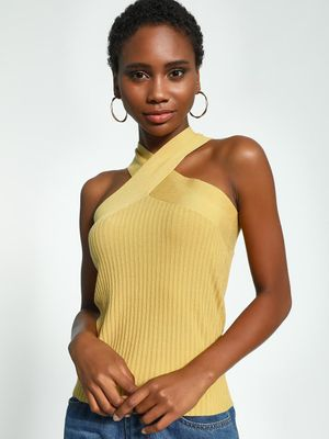 KOOVS Crossover Neck Ribbed Top