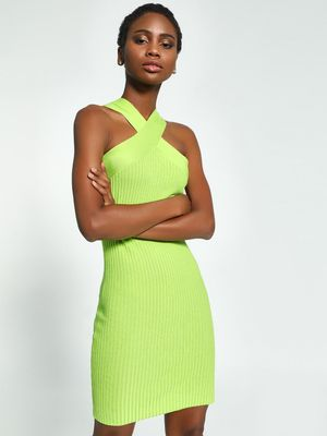 KOOVS Cross-Over Neck Knitted Bodycon Dress