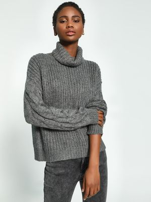 KOOVS Cable Knit Roll-Over Neck Pullover