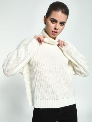KOOVS Cable Knit 'Roll-Over Neck Pullover