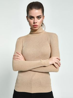 KOOVS Ribbed Shimmer Turtleneck Pullover