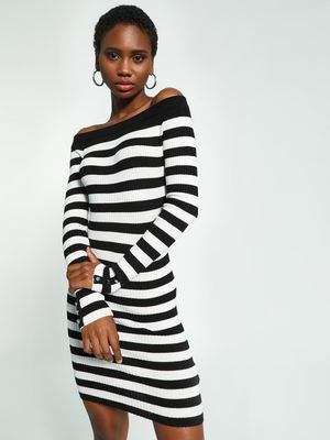 KOOVS Knitted Stripe Off-Shoulder Bodycon Dress