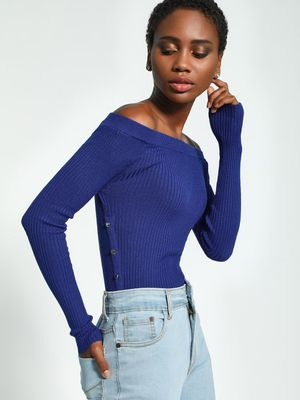 KOOVS Button Detail Off-Shoulder Pullover