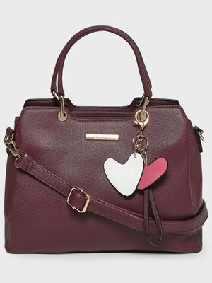 Ceriz Heart Charm Detail Structured Handbag