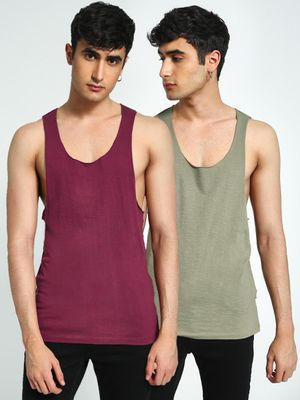 KOOVS Raw Edge Racerback Vest (Pack Of 2)