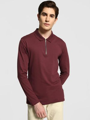 KOOVS Muscle Fit Long Sleeve Polo Shirt