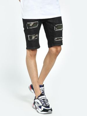 Kultprit Dark Wash Distressed Camo Patch Shorts
